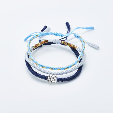 Jean Claude Jewelry // Handmade Tibetan Buddha Bracelet // Set of 3 // Blue