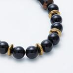 Dell Arte // Shiny Onyx + Czech Glass Bead Bracelet // Black + Gold