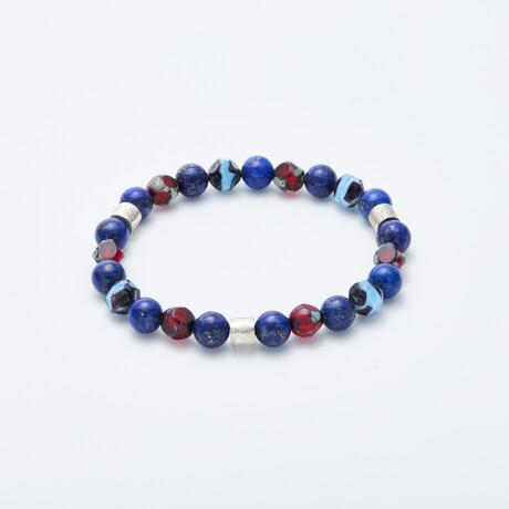 Dell Arte // Lapis Beads + Bohemian Crystal Bracelet // Blue + Red