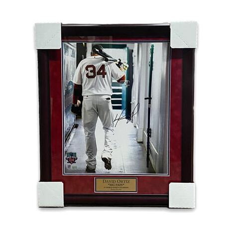 David Ortiz // Boston Red Sox // Signed + Framed Photograph + Flag