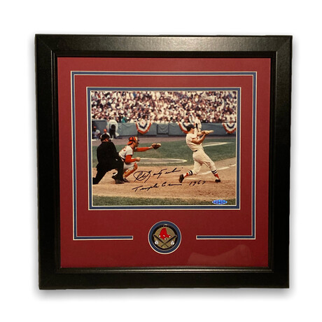 Carl Yastrzemski // Boston Red Sox // Signed + Framed Photograph + Coin + Inscription