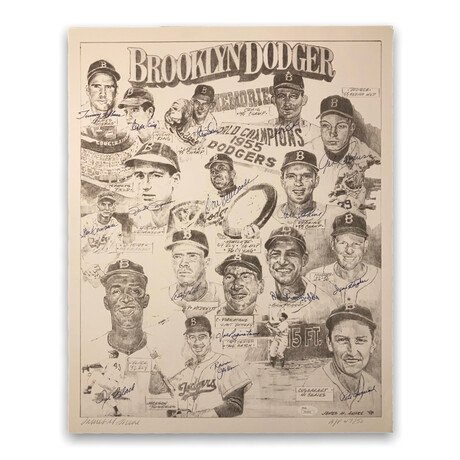 Stars Multi-Signed Lithograph // Brooklyn Dodgers // Limited Edition