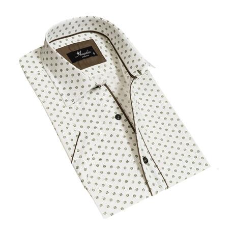 Short Sleeve Button Down Shirt // White + Green (S)