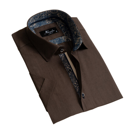 Short Sleeve Button Down Shirt // Brown (S)