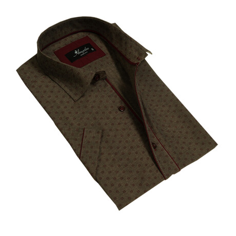 Short Sleeve Button Down Shirt // Army Green + Burgundy (S)