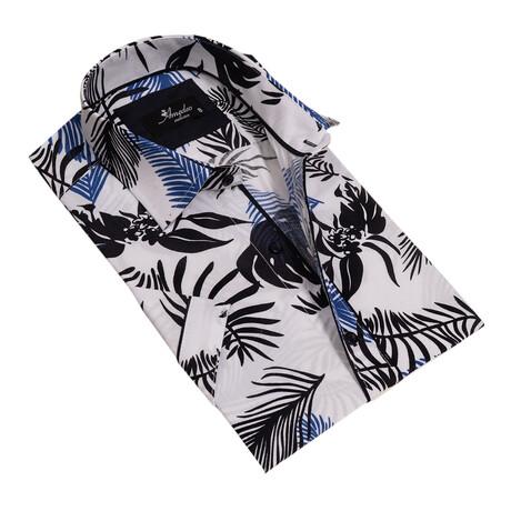 Short Sleeve Button Down Shirt // White + Black (S)