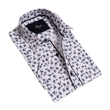 Floral Short Sleeve Button Down Shirt // White + Blue Gray (S)