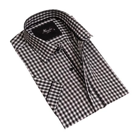 Checkered Short Sleeve Button Down Shirt // Black + White (S)