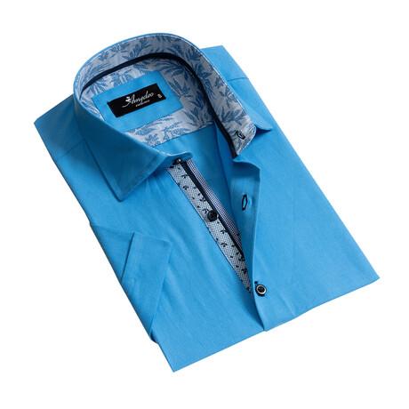 Short Sleeve Button Down Shirt // Blue (S)