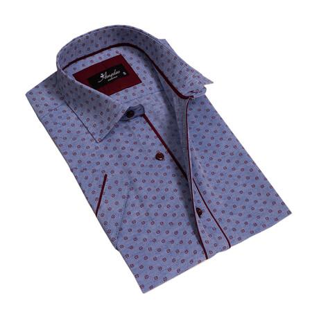 Short Sleeve Button Down Shirt // Blue + Burgundy (S)