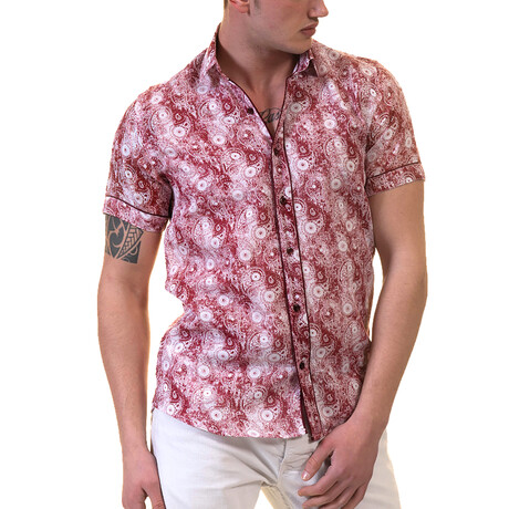 Paisley Short Sleeve Button Down Shirt // Red + White (S)