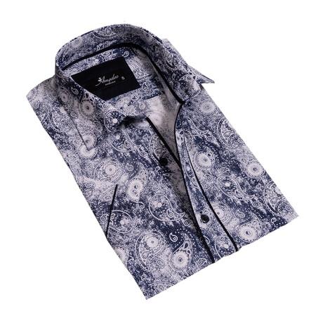 Paisley Short Sleeve Button Down Shirt // Blue + White (S)