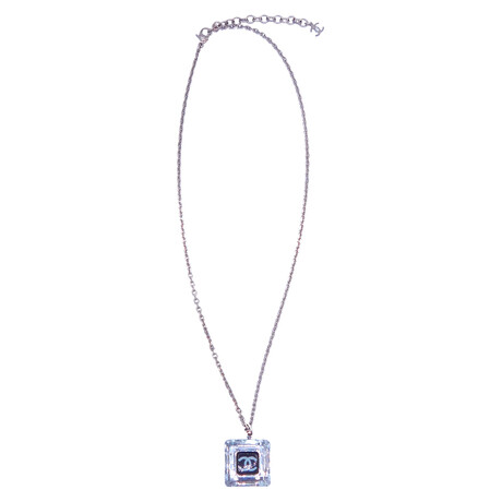 """Chanel // Stainless Steel + Lucite CC Logo Necklace // 18"""" // Pre-Owned"""
