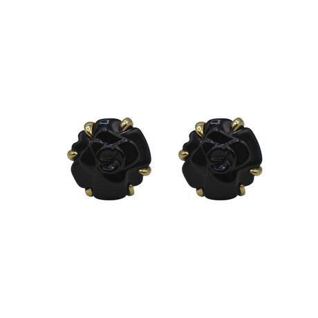 Chanel // 18k Yellow Gold Camellia Onyx Earrings // Pre-Owned