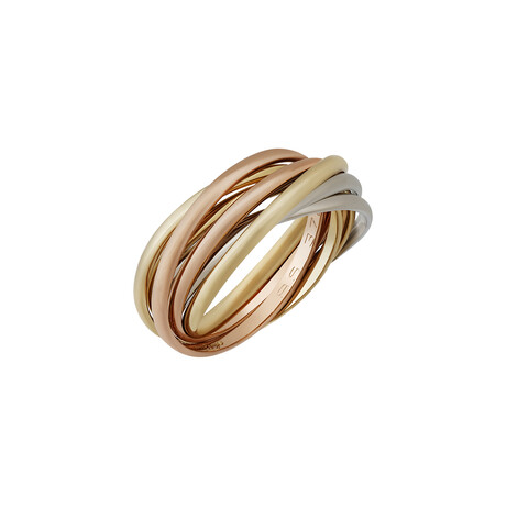 Cartier // 18k Yellow Gold + 18k White Gold + 18k Rose Gold 7 Band Ring // Ring Size: 4.75 // Pre-Owned
