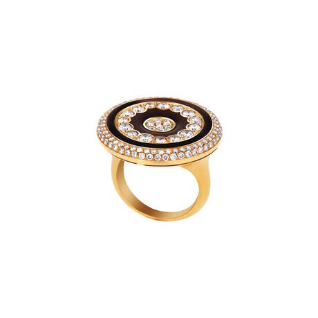 Luca Carati // 18k Yellow Gold Diamond + Brown Enamel Ring // Ring Size: 7.25 // Pre-Owned