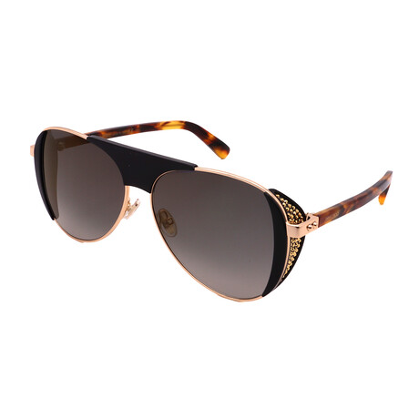 Jimmy Choo // Unisex RAVE-S-J5G Aviator Sunglasses // Gold + Gray Smoke
