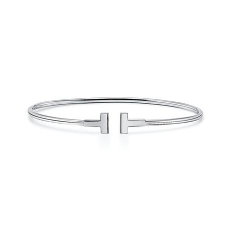 "Ladies 18k White Gold Thin T Cuff Bracelet // 7"" // New"