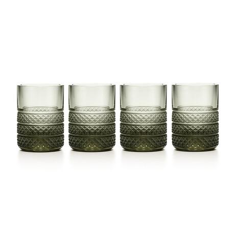 Dark Diamond Point Shot Glass Set // Set of 4 // New