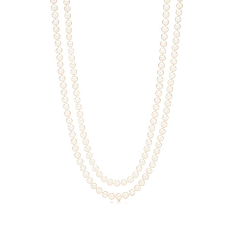 """Ladies Sterling Silver + Pearl Long Wrap Necklace // 80"""" // New"""