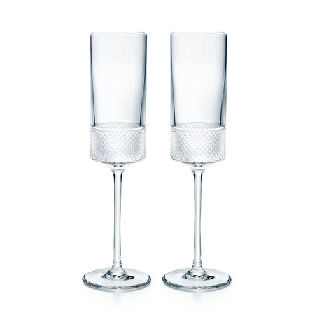 Diamond Point Champagne Flute Set // Set of 2 // New