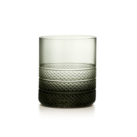 Dark Diamond Point Double Old Fashioned Glass // New