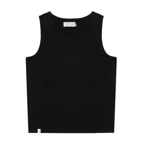 Recycled Jersey Tank Top + Logo // Black (S)
