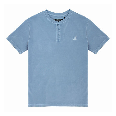 Pigment Dye Short Sleeve Henley Top // Soft Chambray (S)