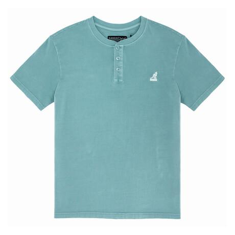 Pigment Dye Short Sleeve Henley Top // Mineral Blue (S)