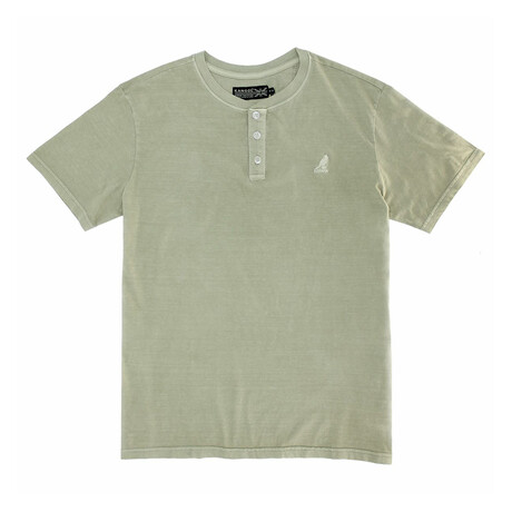 Pigment Dye Short Sleeve Henley Top // Lemon Pepper (S)