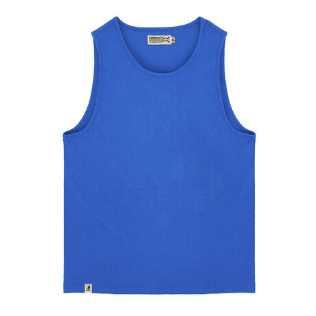 Recycled Jersey Tank Top + Logo // Heather Royal (S)