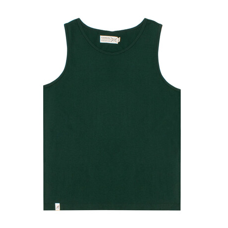 Recycled Jersey Tank Top + Logo // Khaki Green (S)