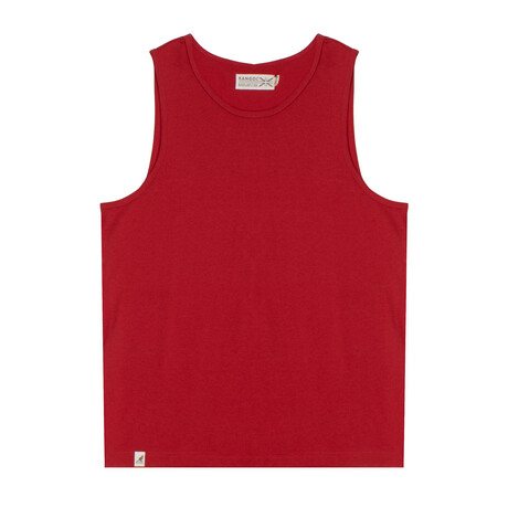 Recycled Jersey Tank Top + Logo // Cherry Red (S)