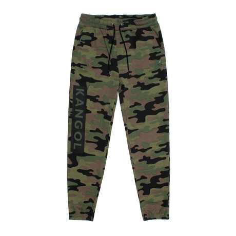Camouflage Print Fleece Jogger Pant // Army (S)