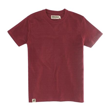 Recycled Jersey Tee Shirt + Logo // Burgundy (S)
