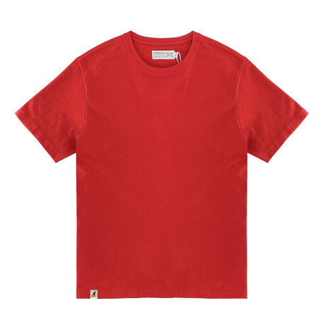 Recycled Jersey Tee Shirt + Logo // Cherry Red (S)