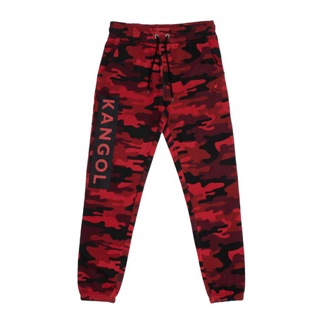 Camouflage Print Fleece Jogger Pant // Red (S)