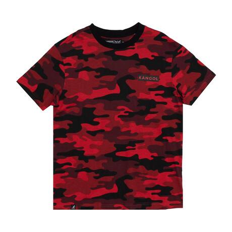Camouflage Crewneck Tee + Print // Red (S)