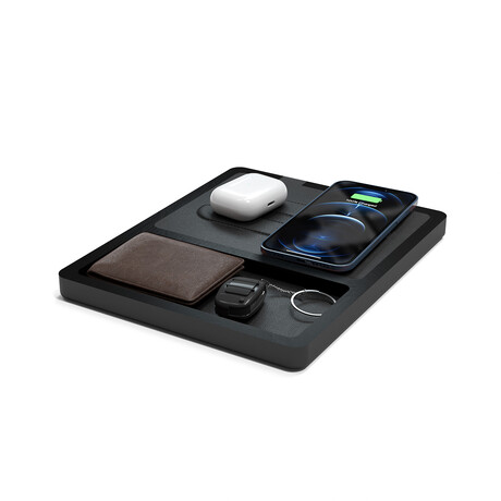 NYTSTND DUO TRAY MagSafe Wireless Charging Station // Black Top (Oak Base)