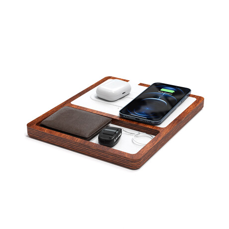 NYTSTND DUO TRAY MagSafe Wireless Charging Station // White Top (Merlot Red Base)