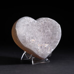 Genuine Agate and Quartz Crystal Cluster Heart + Acrylic Display Stand // V3