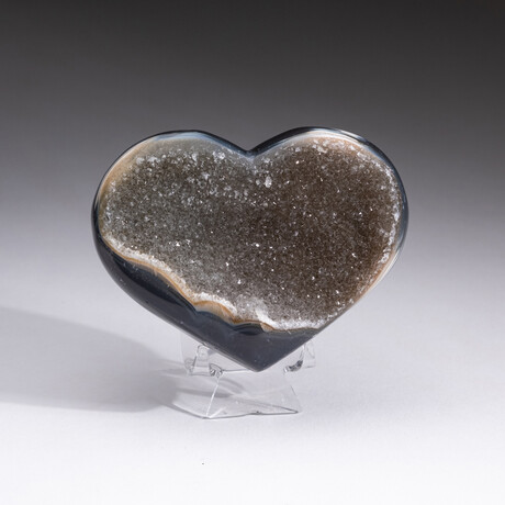 Genuine Agate Druzy Crystal Cluster Heart + Acrylic Display Stand // V6