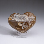 Genuine Agate Druzy Crystal Cluster Heart + Acrylic Display Stand // V1