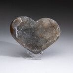 Genuine Agate Druzy Crystal Cluster Heart + Acrylic Display Stand // V4