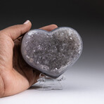 Genuine Agate and Quartz Crystal Cluster Heart + Acrylic Display Stand // V1