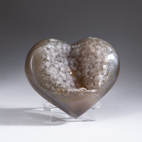 Genuine Agate and Druzy Quartz Crystal Cluster Heart+ Acrylic Display Stand // V2