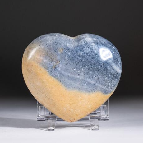 Genuine Polished Polychrome Jasper Heart + Acrylic Display Stand // V1