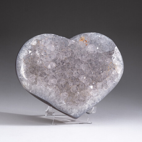 Genuine Agate and Quartz Crystal Cluster Heart+ Acrylic Display Stand // V3
