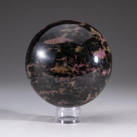 Genuine Polished Rhodonite Sphere  + Acrylic Display Stand // V2