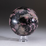 Genuine Polished Rhodonite Sphere  + Acrylic Display Stand // V1